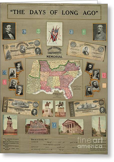 Johnston Greeting Cards - Map: Confederate States Greeting Card by Granger