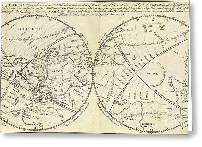 Map Marking Transit Of Venus, 1770 Greeting Card by Wellcome Images