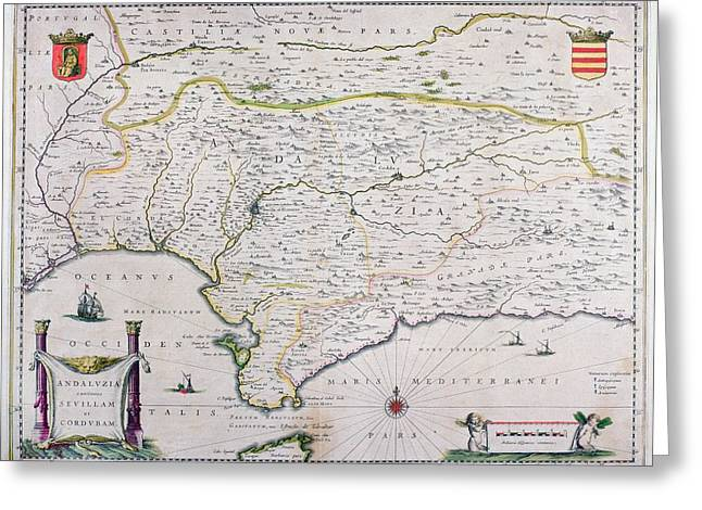 Joannes Greeting Cards - Map Of Andalusia Spain By Willem And Or Greeting Card by Ken Welsh