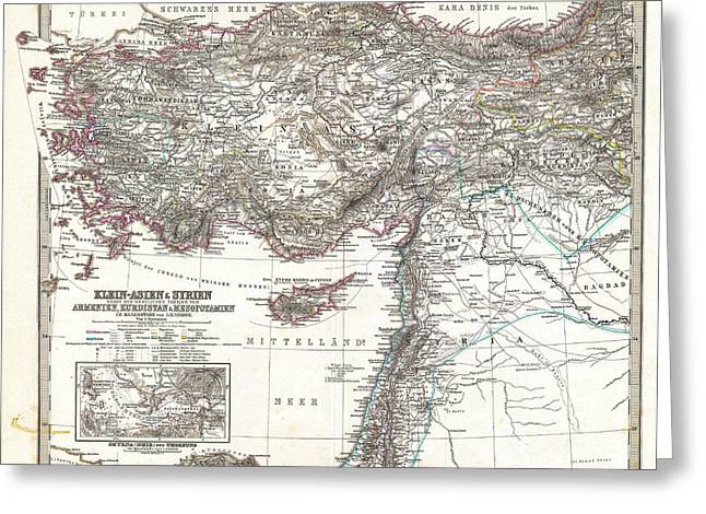 Old Map Paintings Greeting Cards - Map of Asia Minor Syria and Israel Greeting Card by Celestial Images