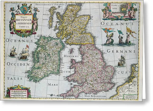 English School; (17th Century) Greeting Cards - Map of Britain Greeting Card by English school