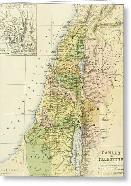 Map Of Canaan Or Palestine Greeting Card by English School