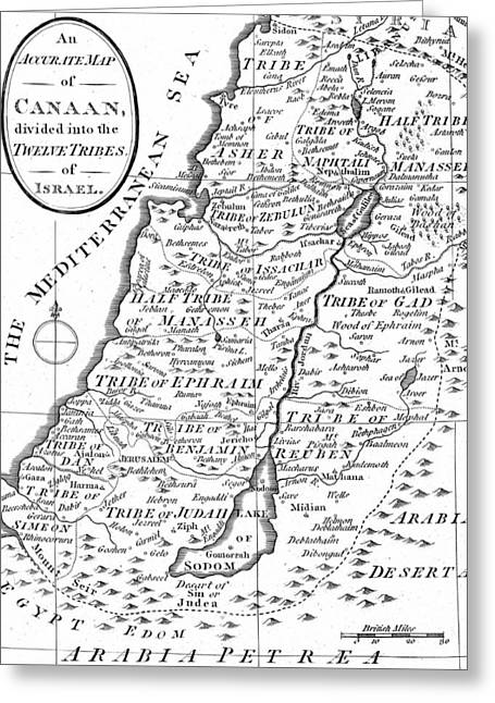 Map Of Canaan Showing The Twelve Tribes Greeting Card by English School