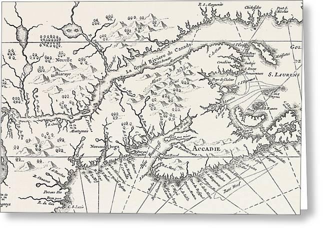 Map Of Canada And Nova Scotia Greeting Card by Joannes De Salt