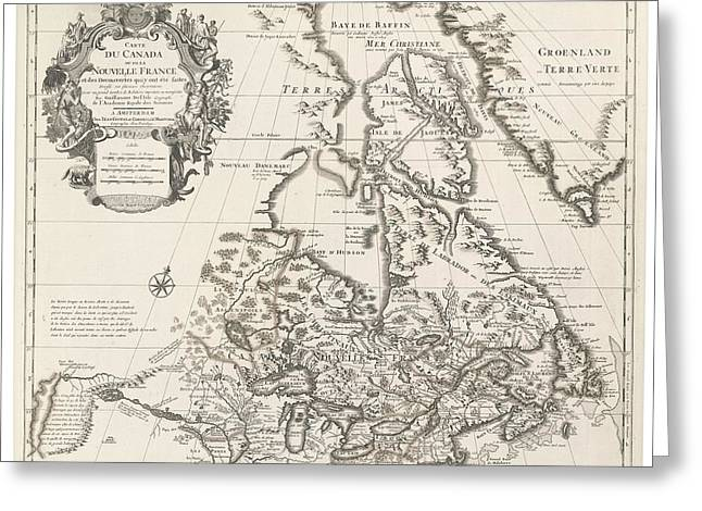 Historic Drawings Greeting Cards - Map of Canada or New France Greeting Card by Guillaume Delisle