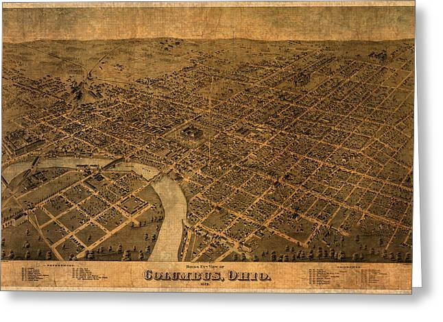 View Mixed Media Greeting Cards - Map of Columbus Ohio Vintage Street Schematic Birds Eye View on Worn Parchment Greeting Card by Design Turnpike