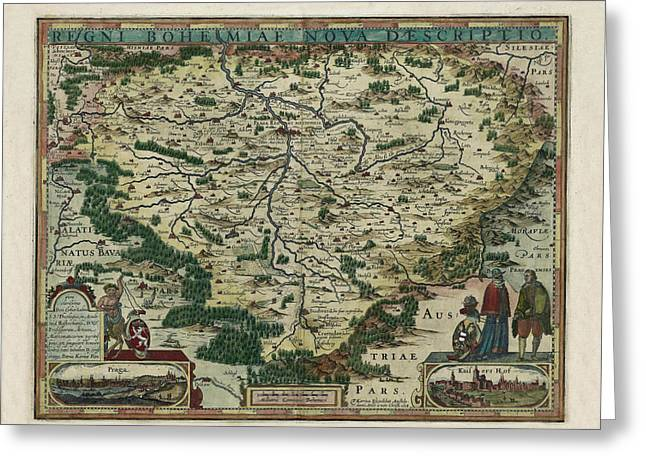 Map Of Czech Republic 1618 Greeting Card by Andrew Fare