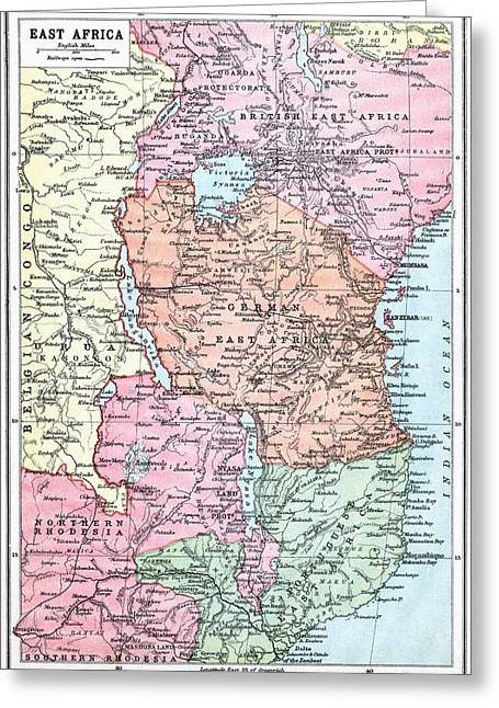 Northern Africa Greeting Cards - Map Of East Africa At Beginning Of Greeting Card by Ken Welsh