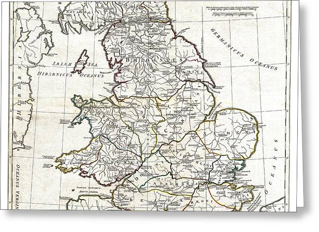 Historic England Drawings Greeting Cards - Map of England in Ancient Roman times - Horsley - 1794 Greeting Card by Pablo Romero