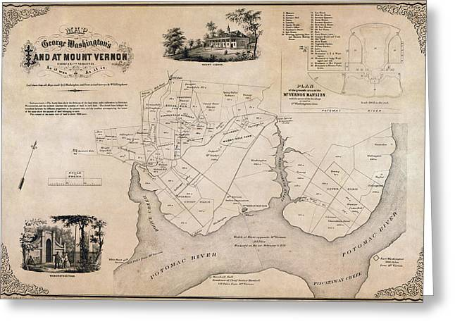 Hand Drawn Greeting Cards - MAP of GEORGE WASHINGTONs MOUNT VERNON - 1859 Greeting Card by Daniel Hagerman