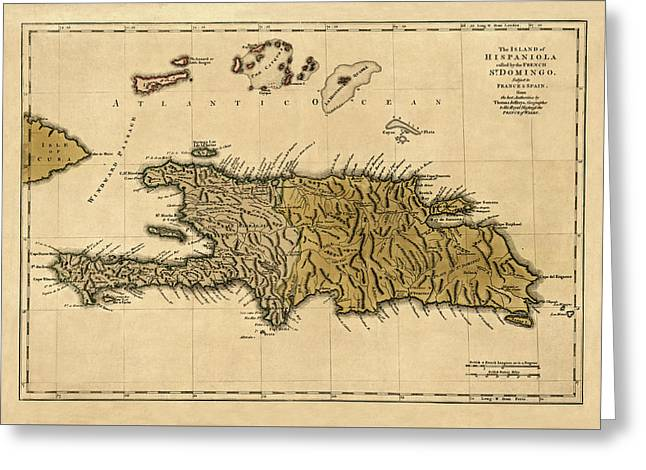Map Of Hispaniola 1762 Greeting Card by Andrew Fare