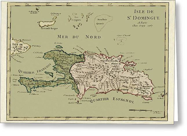 Map Of Hispaniola 1767 Greeting Card by Andrew Fare