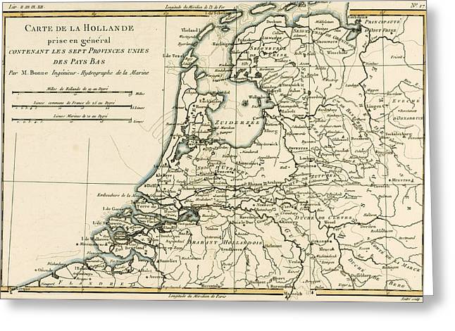 Border Drawings Greeting Cards - Map of Holland Including the Seven United Provinces of the Low Countries Greeting Card by Guillaume Raynal