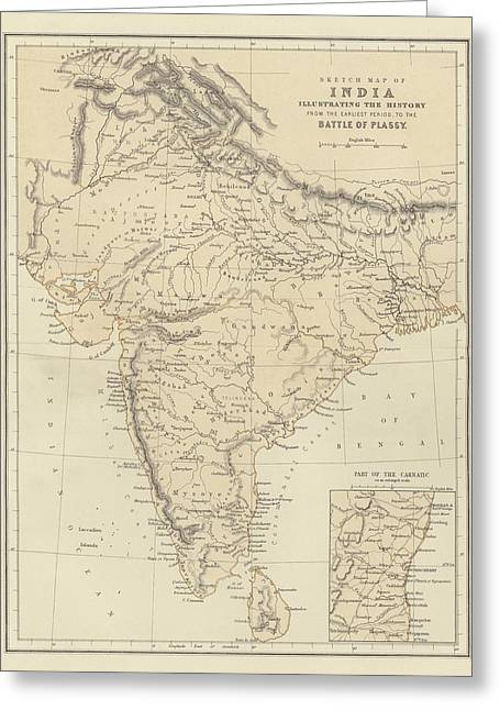 Historic England Greeting Cards - Map of India Greeting Card by English School