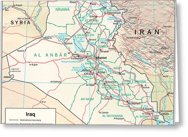 Baghdad Greeting Cards - Map of Iraq Greeting Card by Roy Pedersen