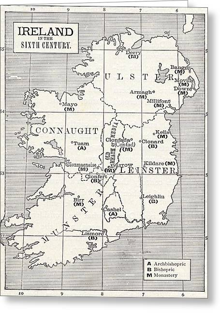 Map Of Ireland In The Sixth Century Greeting Card by Vintage Design Pics