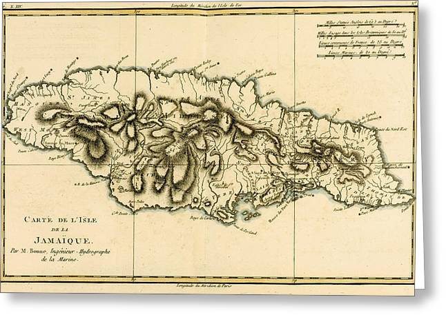 Map Of Jamaica Greeting Card by Guillaume Raynal