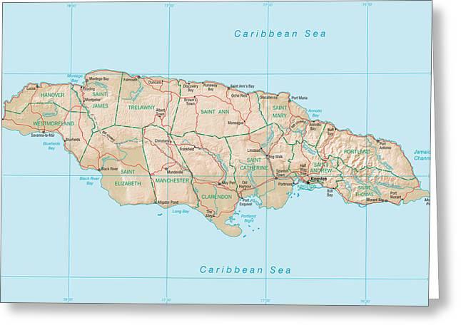 Map Of Jamaica Greeting Card by Roy Pedersen