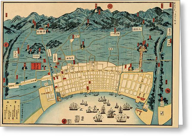 Map Of Kobe 1868 Greeting Card by Andrew Fare