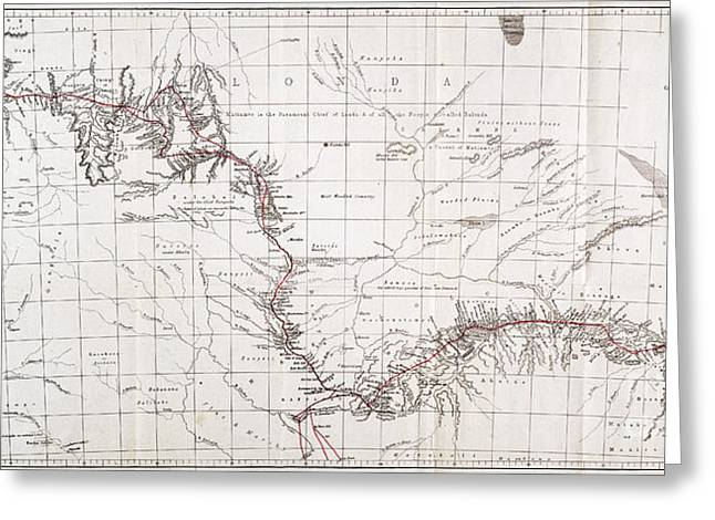 Map Of Livingstones Route Across Greeting Card by Wellcome Images