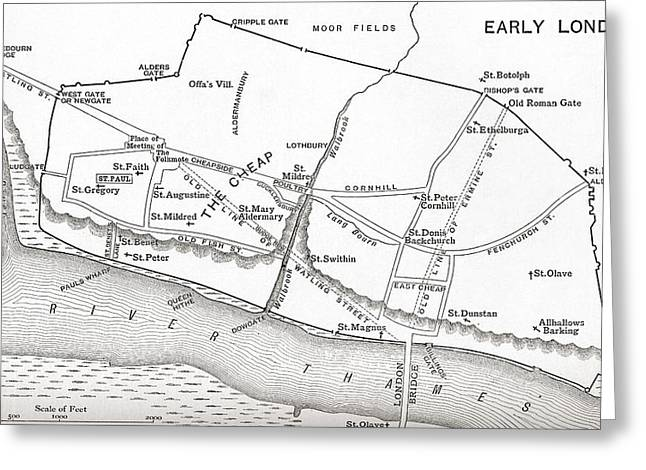 Early Drawings Greeting Cards - Map Of London In The 11th Century. From Greeting Card by Ken Welsh