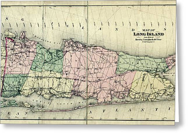 1800s Greeting Cards - Map of LongIsland 1873 Greeting Card by Jon Neidert
