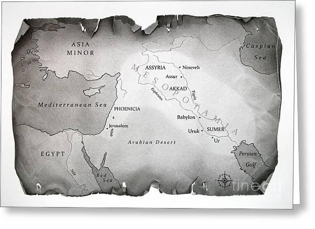 Map Of Mesopotamia Greeting Card by Miro Gradinscak
