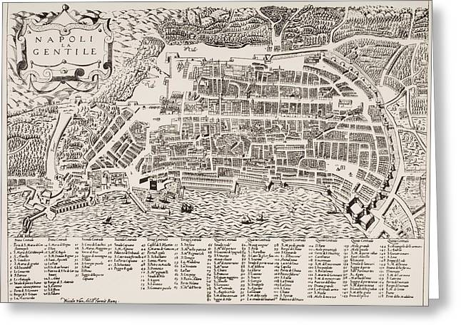 Naples Drawings Greeting Cards - Map Of Naples Italy Undated But Put As Greeting Card by Ken Welsh