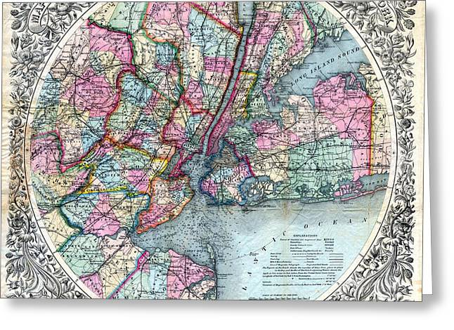 1800s Greeting Cards - 1879 New York City Map Greeting Card by Jon Neidert