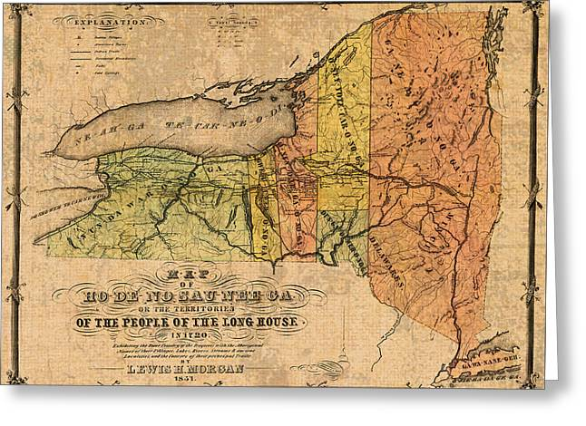 Old Map Mixed Media Greeting Cards - Map of New York State Showing Original Indian Tribe Iroquois Landmarks and Territories Circa 1720 Greeting Card by Design Turnpike