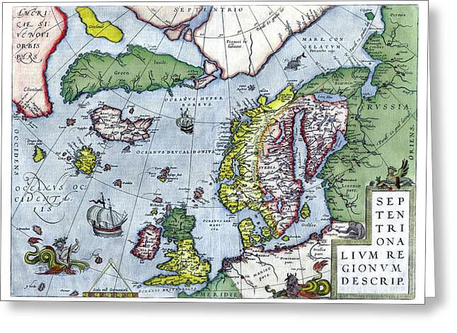 Historic England Drawings Greeting Cards - Map of Northern Europe - Ortelius - 1570 Greeting Card by Pablo Romero