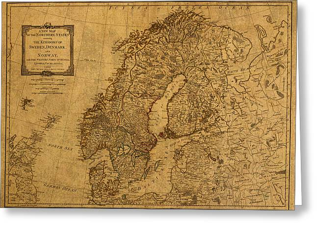 1794 Greeting Cards - Map of Norway Sweden Denmark and Scandinavia Circa 1794 on Worn Distressed Parchment Greeting Card by Design Turnpike
