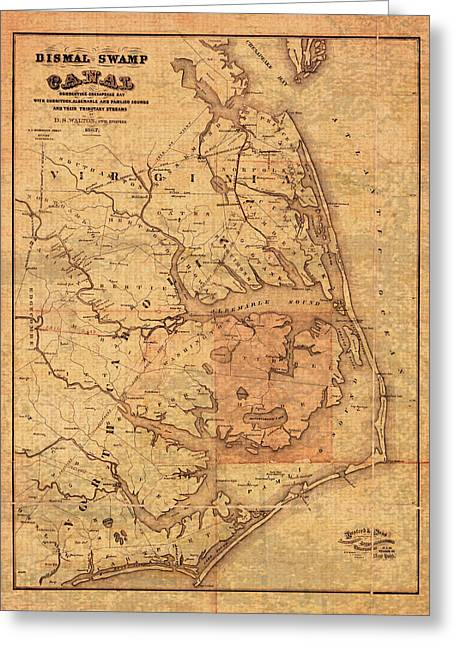 Bank Art Greeting Cards - Map of Outer Banks North Carolina Dismal Swamp Canal Currituck Albemarle Pamlico Sounds Circa 1867  Greeting Card by Design Turnpike