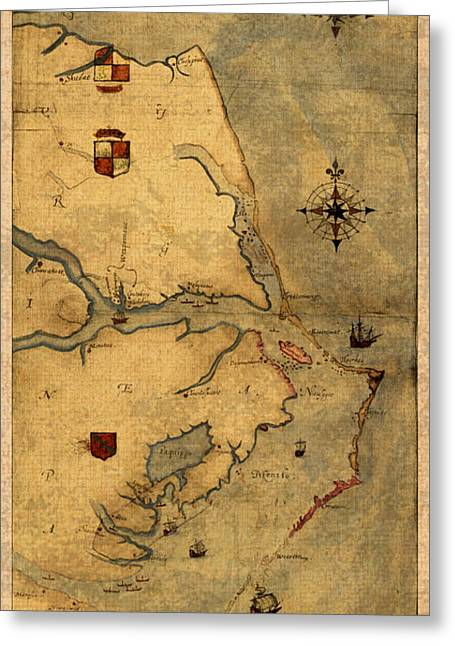 Carolina Mixed Media Greeting Cards - Map of Outer Banks Vintage Coastal Handrawn Schematic on Parchment Circa 1585 Greeting Card by Design Turnpike