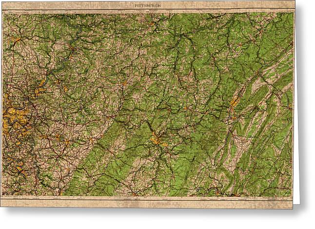 Pittsburgh Greeting Cards - Map of Pittsburgh Pennsylvania Vintage Topographical Schematic 1958 on Worn Distressed Canvas Greeting Card by Design Turnpike