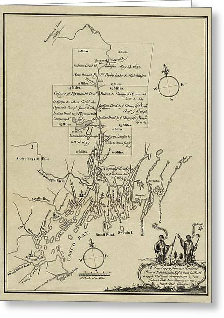 Plymouth Massachusetts Greeting Cards - Map of Plymouth Greeting Card by Andrew Fare