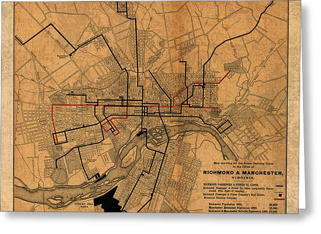 1901 Mixed Media Greeting Cards - Map of Richmond Virginia Vintage Street Car Railway Schematic from 1901 on Worn Distressed Canvas Greeting Card by Design Turnpike