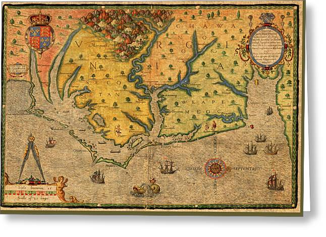 Vintage Map Mixed Media Greeting Cards - Map of Roanoke Virginia Lost Colony 1585 Vintage Schematic of Ocean Coast on Worn Parchment Greeting Card by Design Turnpike