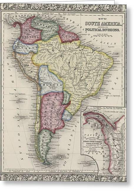 Pacific Ocean Prints Greeting Cards - Map of South America Greeting Card by Samuel Augustus Mitchell