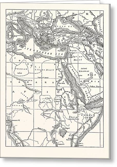 Map Of South Eastern Europe Western Asia And Northern Africa Greeting Card by English School