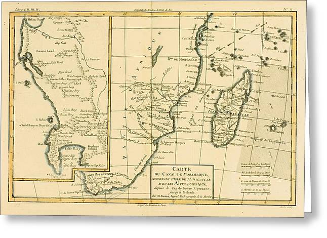 Southern Drawings Greeting Cards - Map Of Southern Africa And Madagascar Greeting Card by Ken Welsh