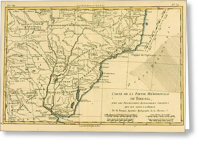Southern Drawings Greeting Cards - Map Of Southern Brazil, Circa.1760 Greeting Card by Ken Welsh