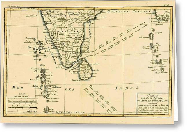 Southern Drawings Greeting Cards - Map Of Southern India, Circa.1760. From Greeting Card by Ken Welsh