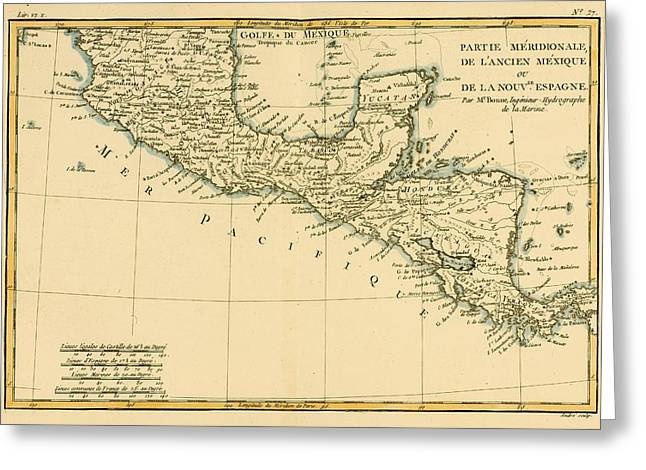 Southern Drawings Greeting Cards - Map Of Southern Mexico, Circa.1760 Greeting Card by Ken Welsh
