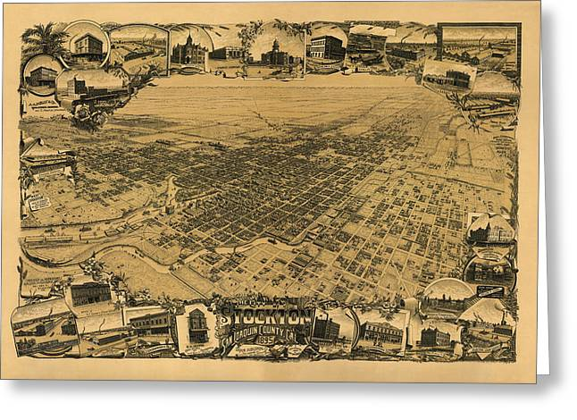 Map Of Stockton 1895 Greeting Card by Andrew Fare