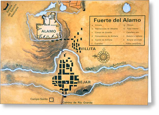 Border Greeting Cards - Map of the Alamo area in San Antonio Greeting Card by Mexican School