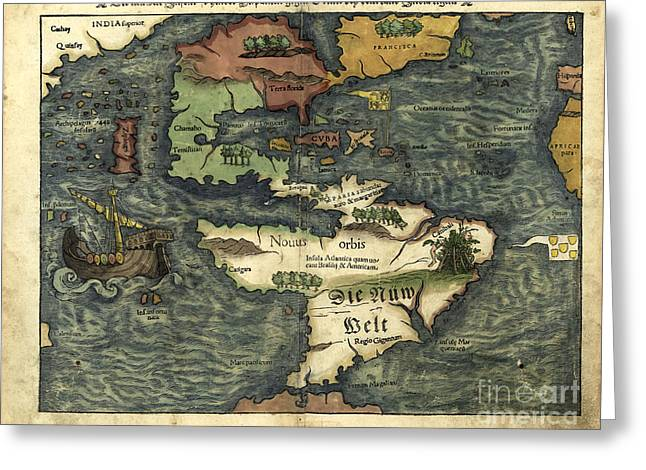 Middle Ages Greeting Cards - Map Of The Americas 1550 Greeting Card by Photo Researchers