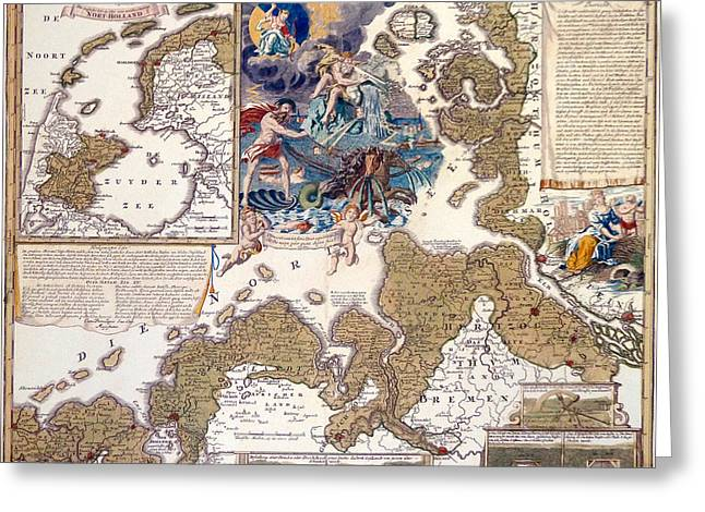 North Sea Greeting Cards - Map of the Christmas Flood of 1717 Greeting Card by Johann Baptista Homann