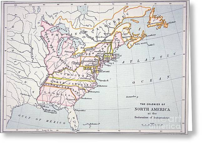 Historic Drawings Greeting Cards - Map of the Colonies of North America at the time of the Declaration of Independence Greeting Card by American School