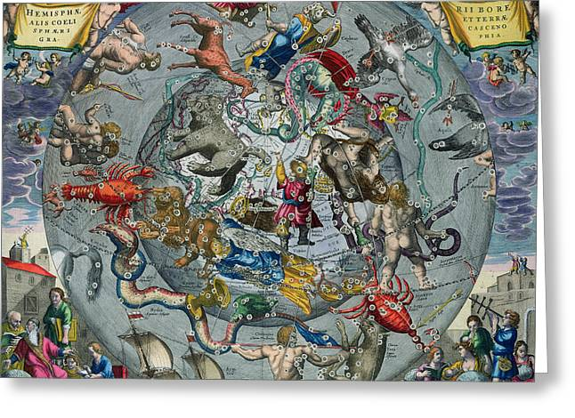 Cancer Paintings Greeting Cards - Map of the Constellations of the Northern Hemisphere Greeting Card by Andreas Cellarius